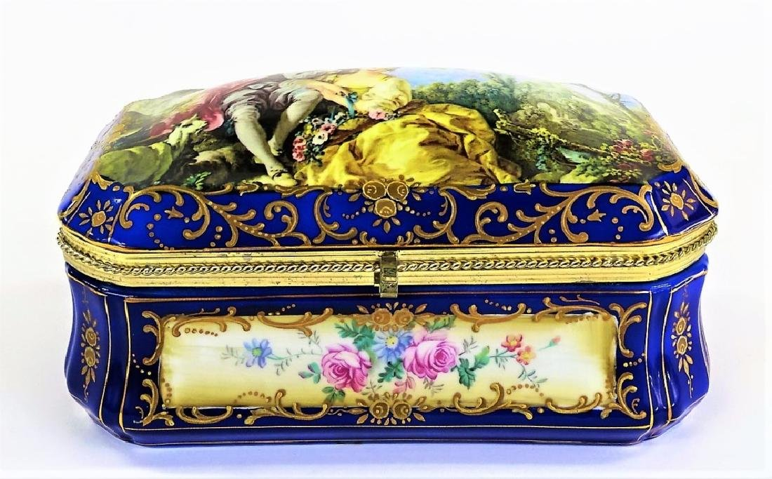 LARGE SEVRES STYLE COBALT GOLD TRIM PORCELAIN BOX - 3