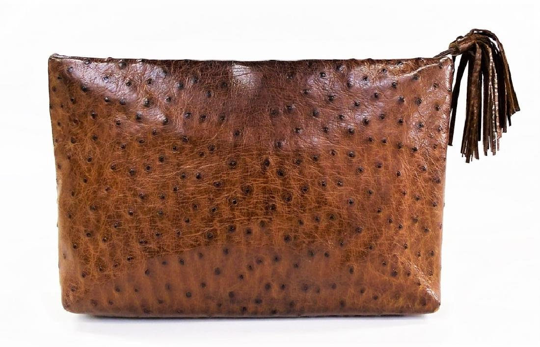 AUTHENTIC HELENE ITALY BROWN OSTRICH SKIN BAG