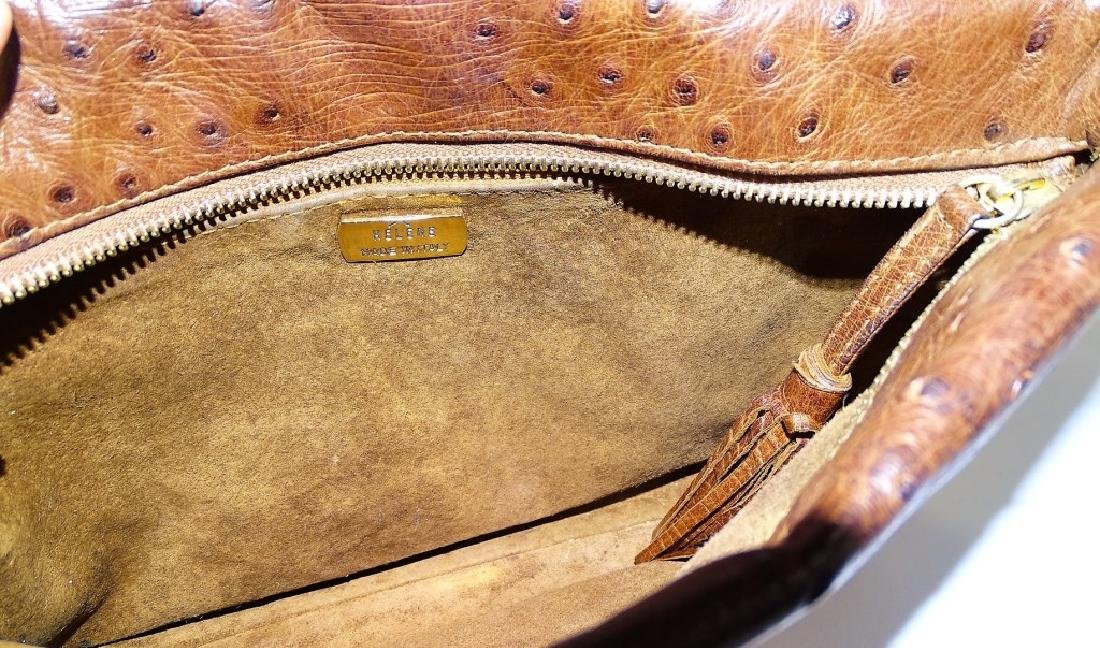 AUTHENTIC HELENE ITALY BROWN OSTRICH SKIN BAG - 4