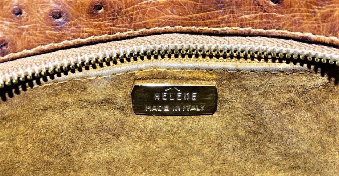 AUTHENTIC HELENE ITALY BROWN OSTRICH SKIN BAG - 5
