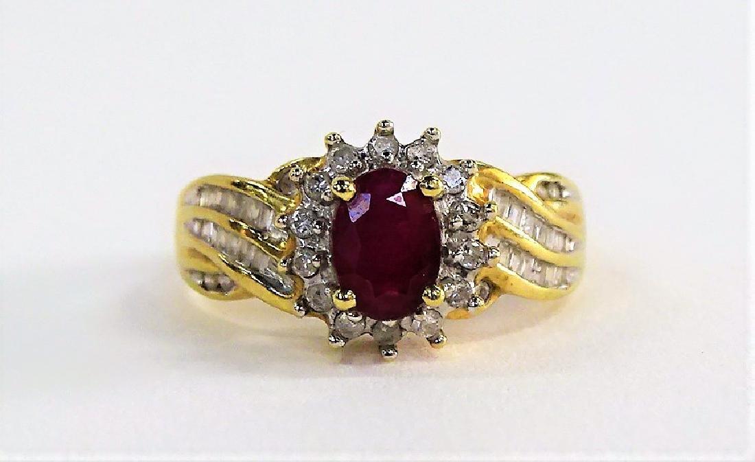 LADIES ELEGANT 10KT YG RUBY & DIAMOND ESTATE RING