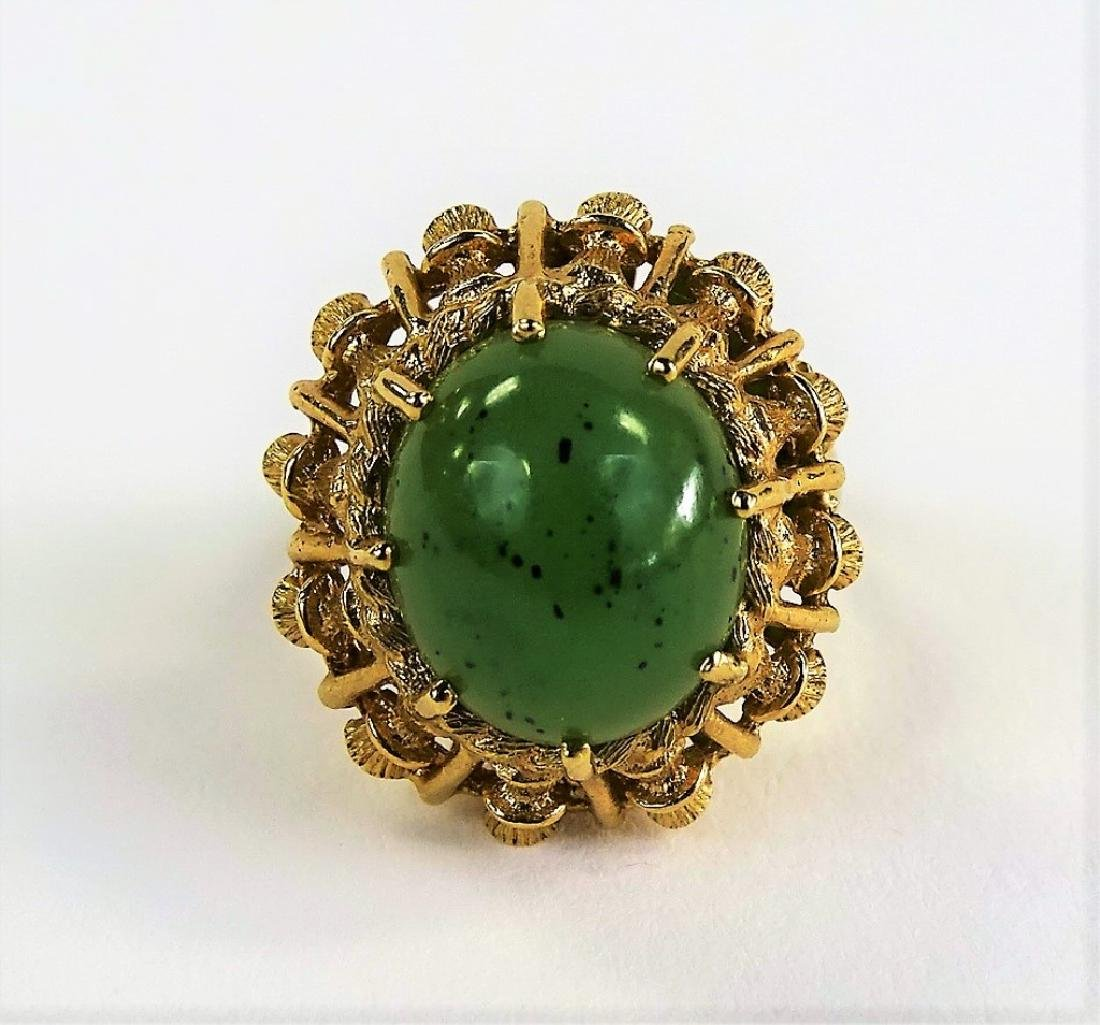 VINTAGE HAVEN JADE & 14KT YELLOW GOLD HEAVY RING