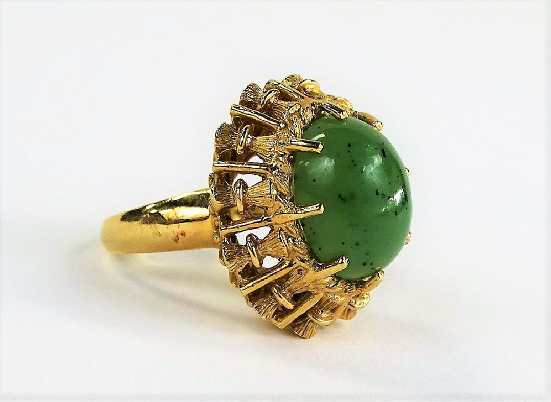 VINTAGE HAVEN JADE & 14KT YELLOW GOLD HEAVY RING - 2