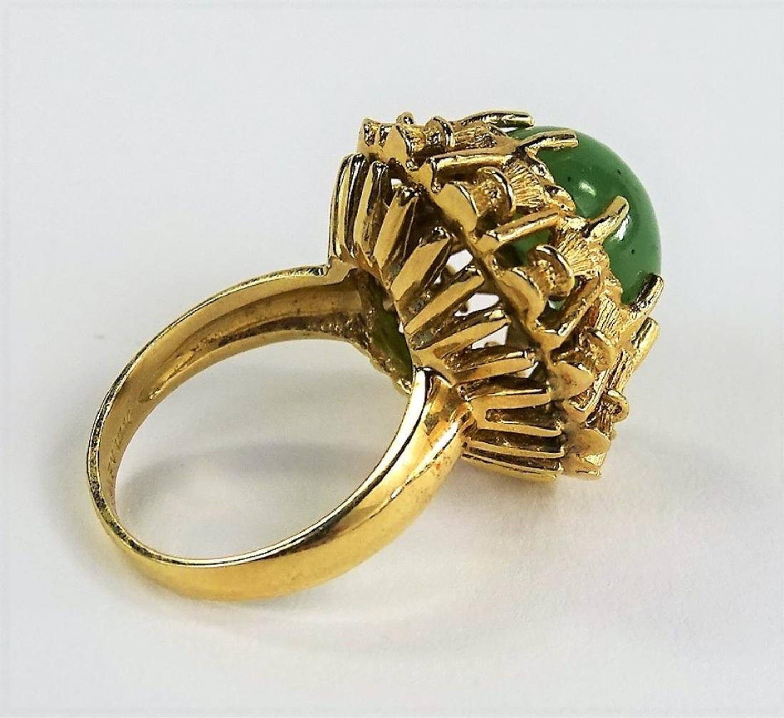 VINTAGE HAVEN JADE & 14KT YELLOW GOLD HEAVY RING - 3