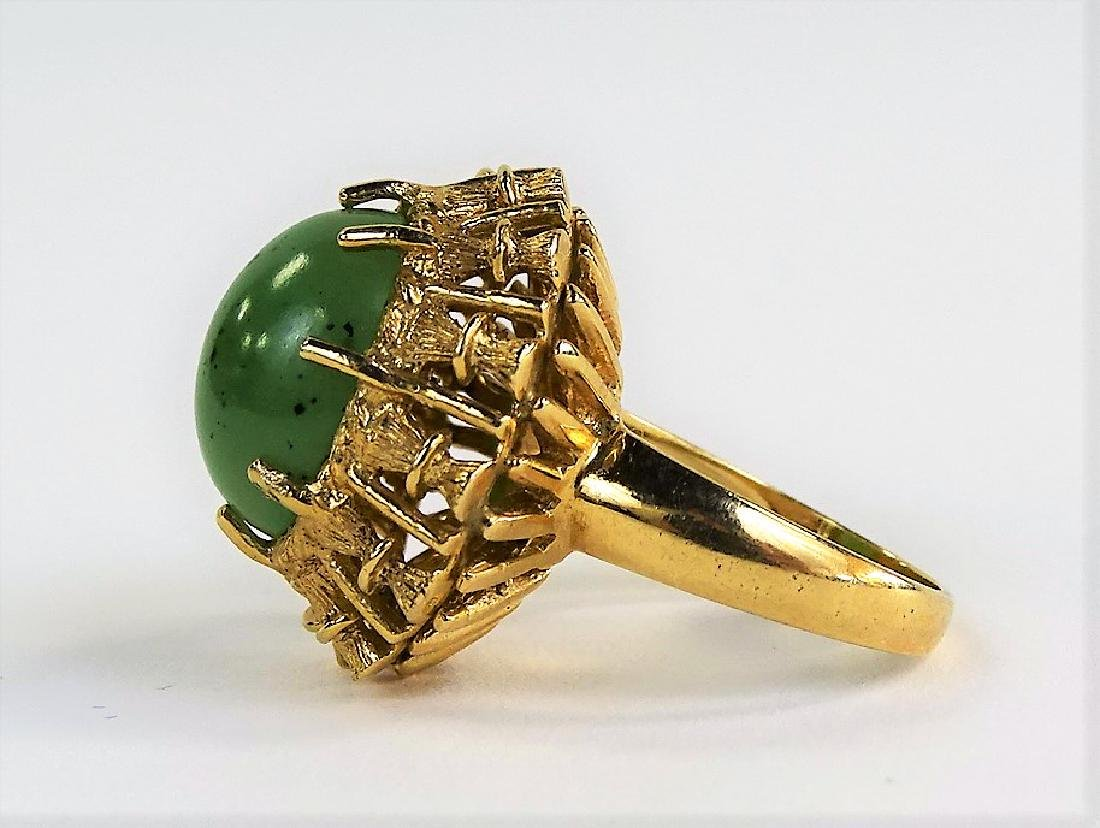VINTAGE HAVEN JADE & 14KT YELLOW GOLD HEAVY RING - 4