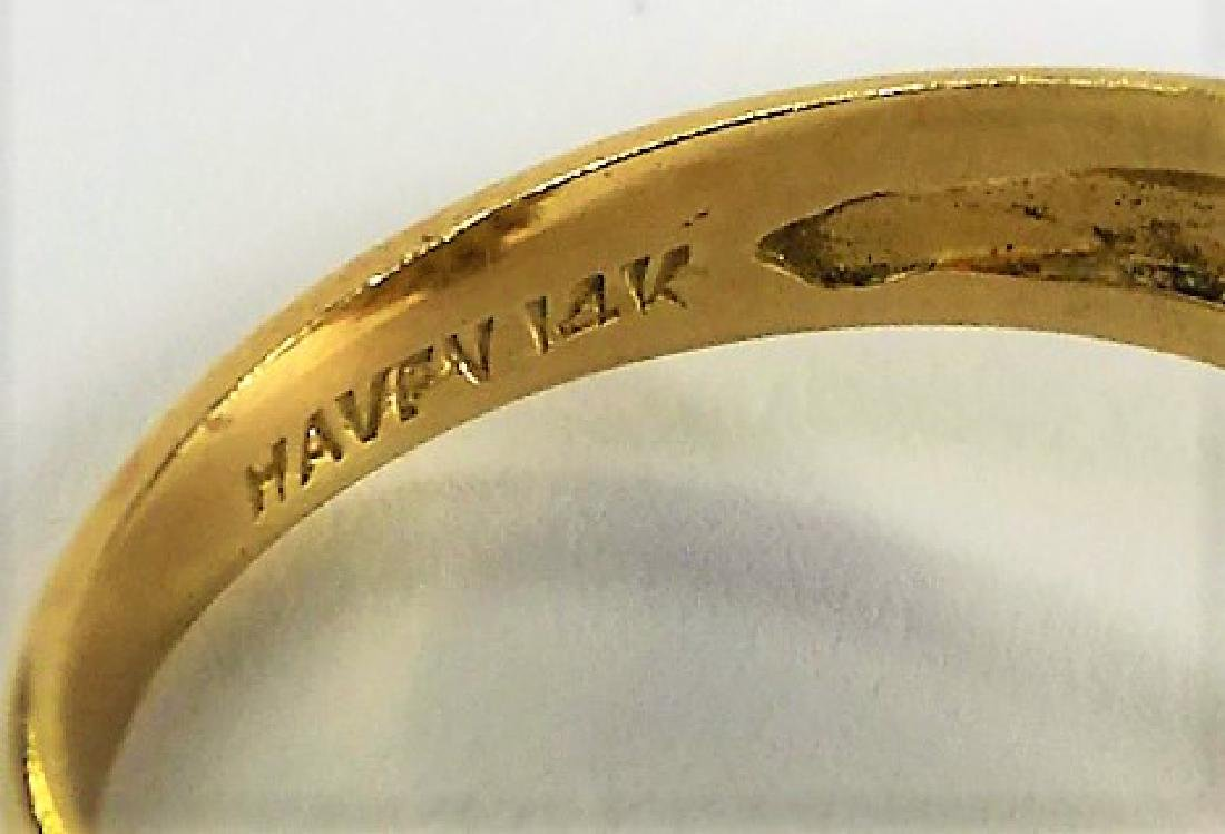 VINTAGE HAVEN JADE & 14KT YELLOW GOLD HEAVY RING - 5