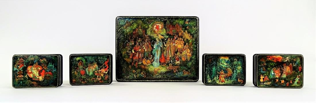 RUSSIAN MOTHER OF PEARL LACQUER BOX SET