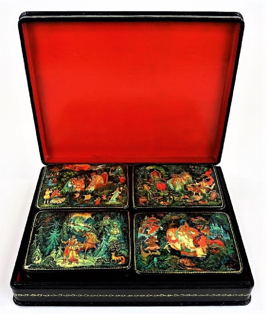 RUSSIAN MOTHER OF PEARL LACQUER BOX SET - 2