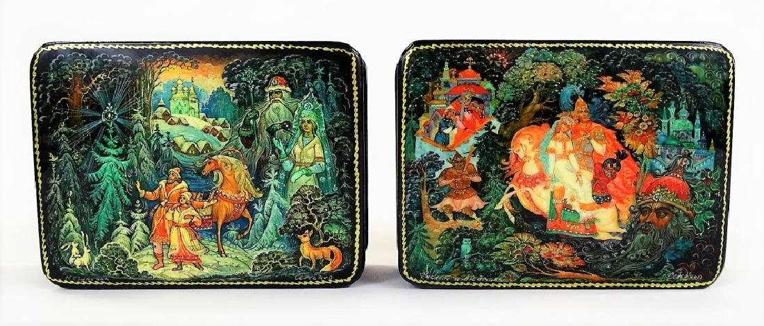 RUSSIAN MOTHER OF PEARL LACQUER BOX SET - 5
