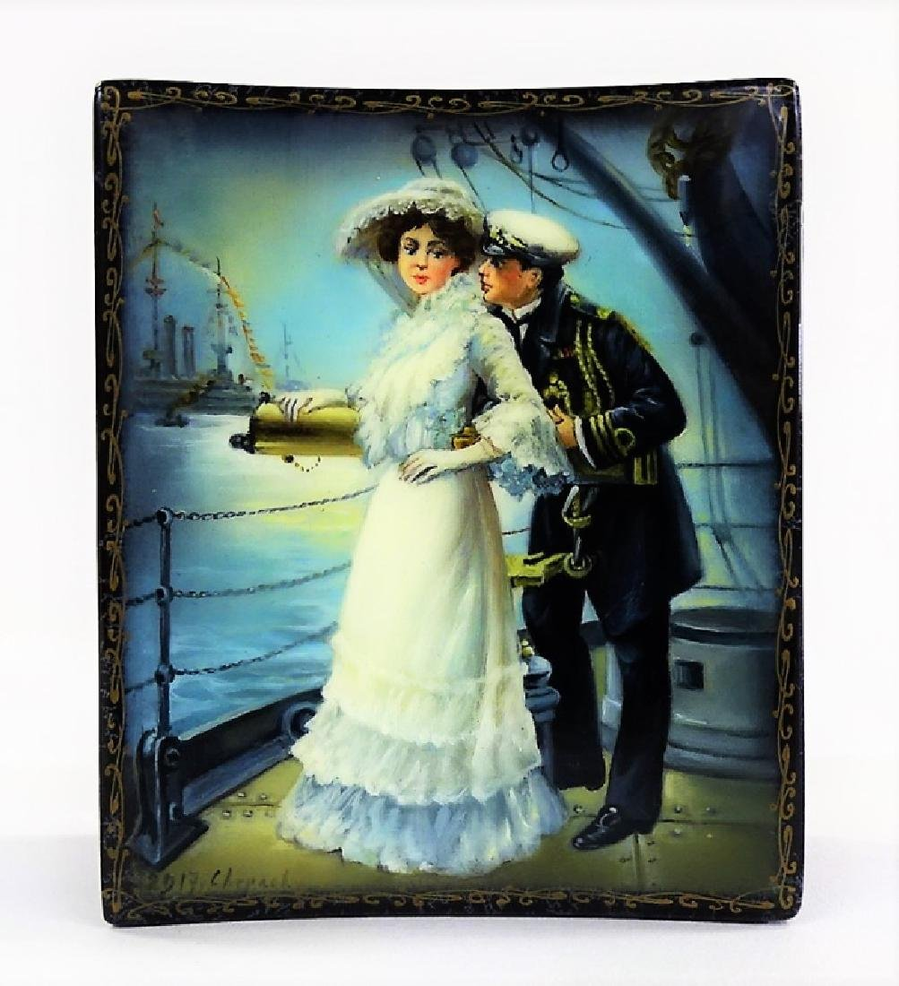 HAND PAINTED EROTIC RUSSIAN LACQUER CASKET BOX