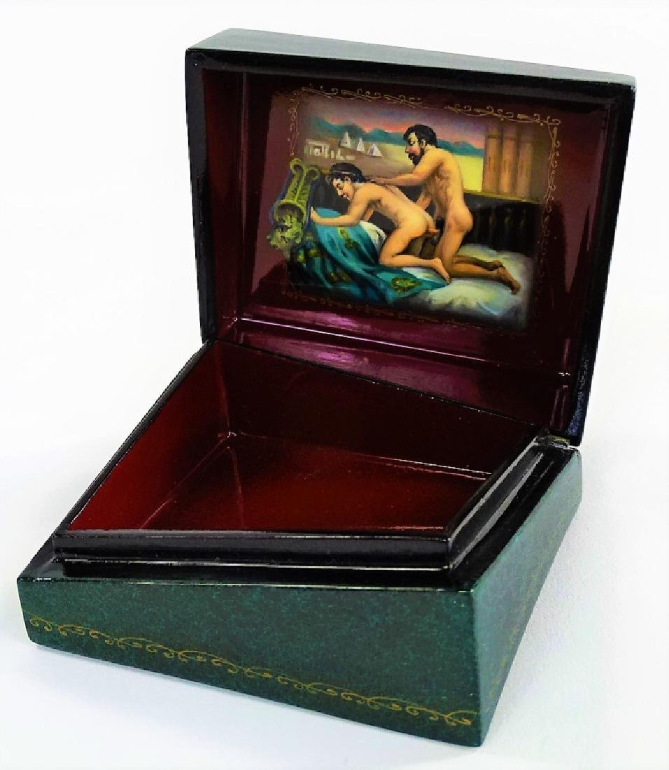 HAND PAINTED EROTIC RUSSIAN LACQUER BOX