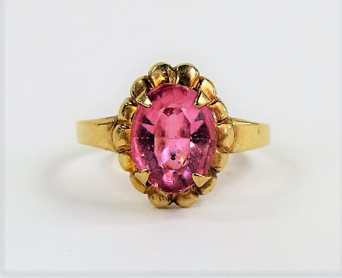 CHILDS VINTAGE 10KT YELLOW GOLD & PINK GLASS RING