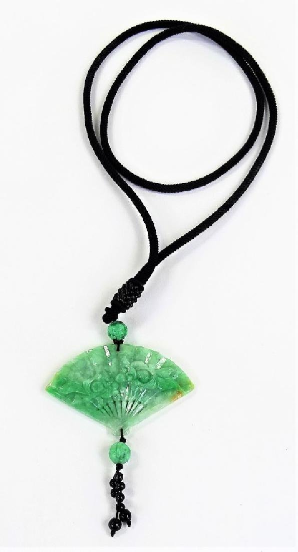 CHINESE CARVED JADEITE FAN PENDANT NECKLACE
