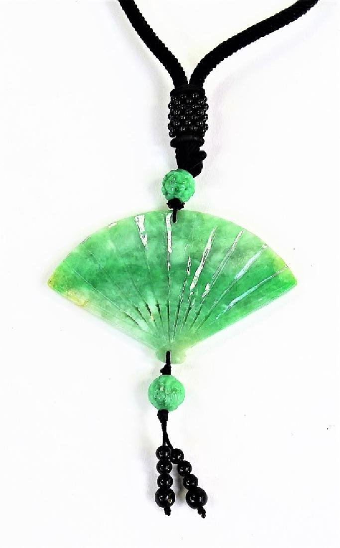 CHINESE CARVED JADEITE FAN PENDANT NECKLACE - 3