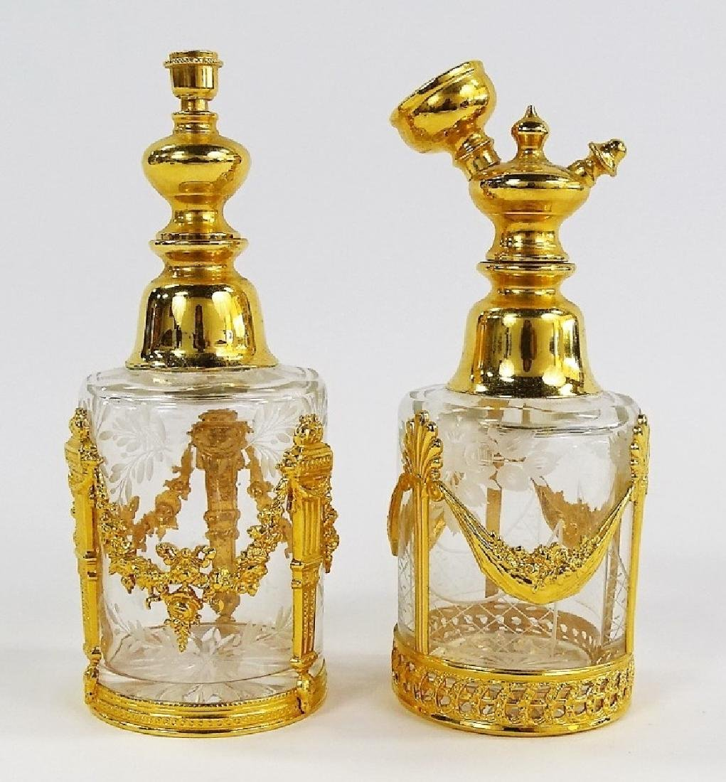 PR OF ANTIQUE FRENCH GILT BRASS PERFUME ATOMIZERS