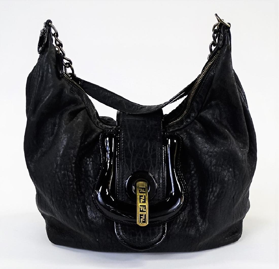 FENDI BLACK SOFT NAPPA LEATHER SHOULDER BAG