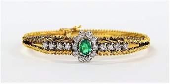 ITALIAN 14K GOLD EMERALD & DIAMOND BRACELET