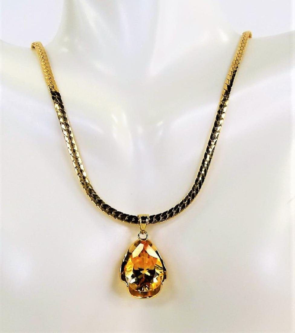 LADIES 14K YELLOW GOLD CITRINE PENDANT NECKLACE