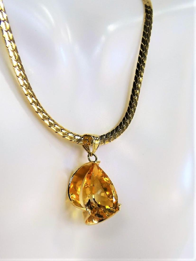 LADIES 14K YELLOW GOLD CITRINE PENDANT NECKLACE - 2