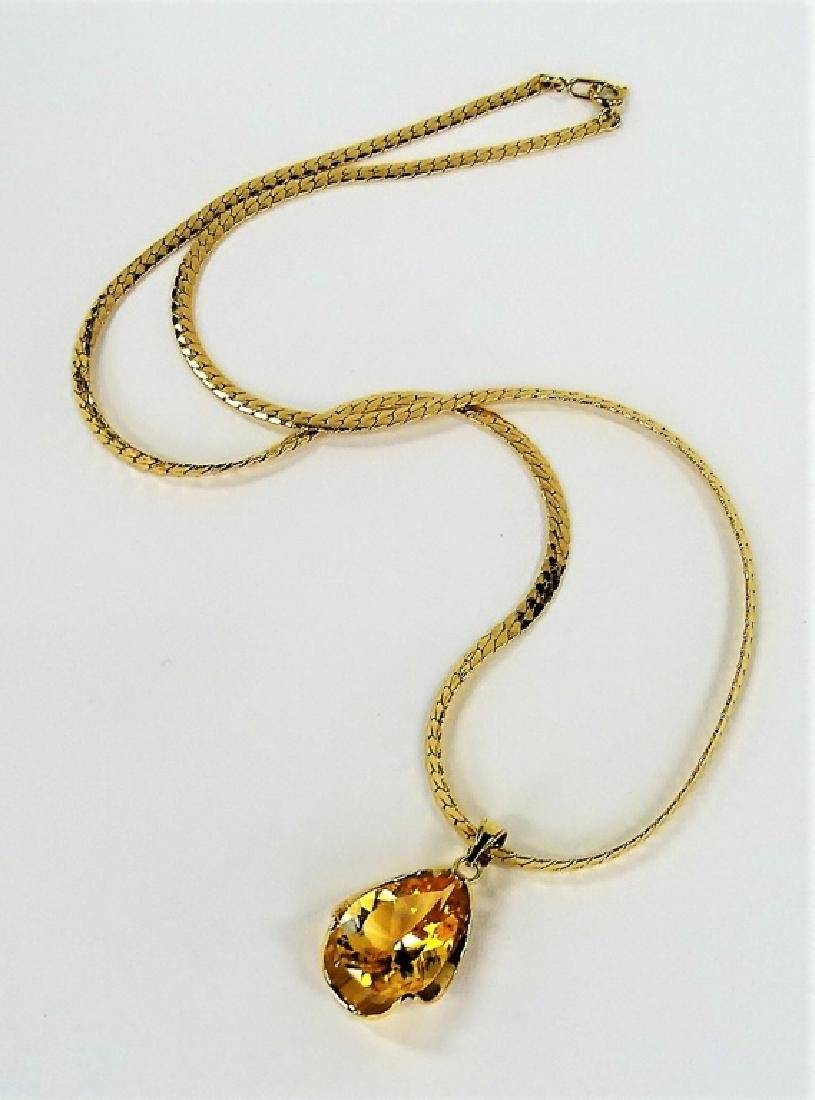 LADIES 14K YELLOW GOLD CITRINE PENDANT NECKLACE - 3