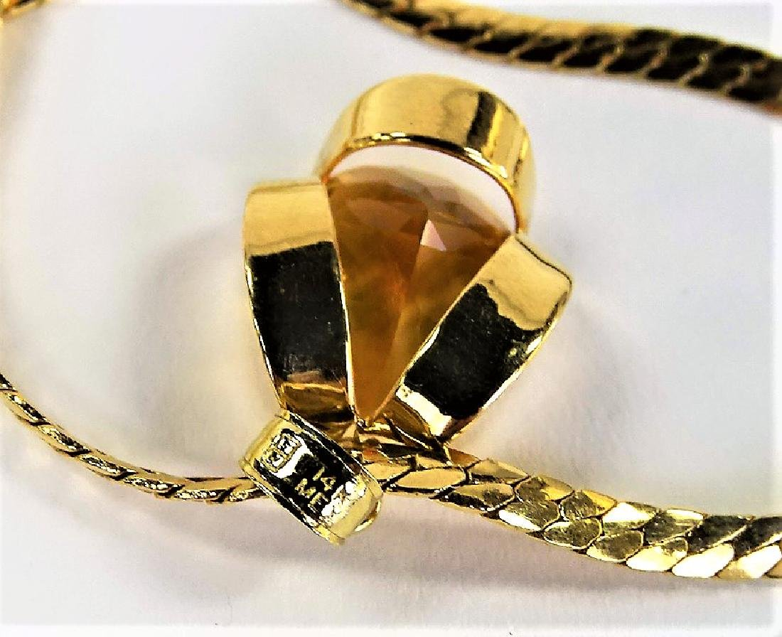 LADIES 14K YELLOW GOLD CITRINE PENDANT NECKLACE - 5