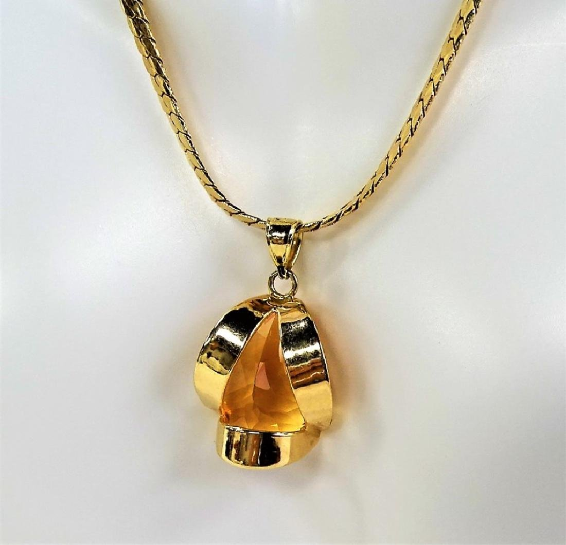LADIES 14K YELLOW GOLD CITRINE PENDANT NECKLACE - 6