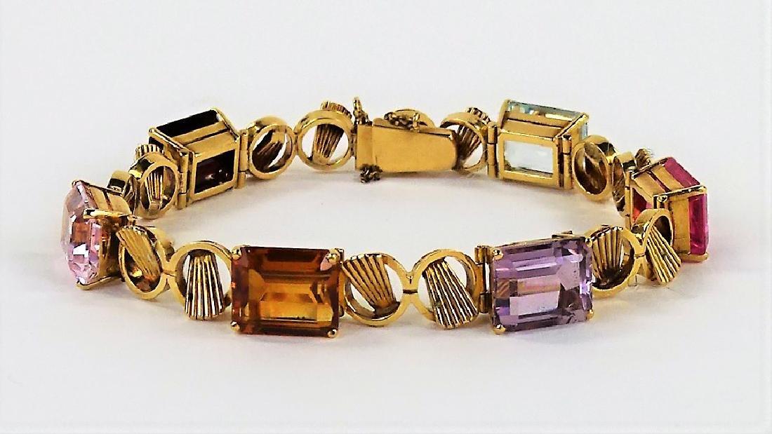 LADIES 18K ROSE GOLD JEWELED LINK BRACELET 19.9DWT