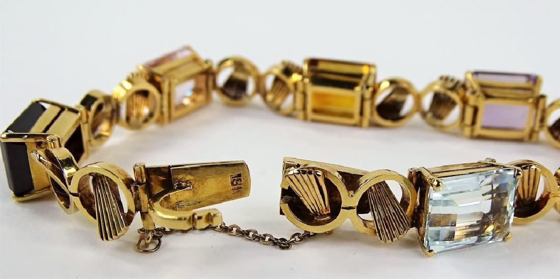 LADIES 18K ROSE GOLD JEWELED LINK BRACELET 19.9DWT - 4