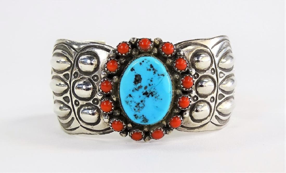 NAVAJO STERLING SILVER TURQUOISE & CORAL CUFF