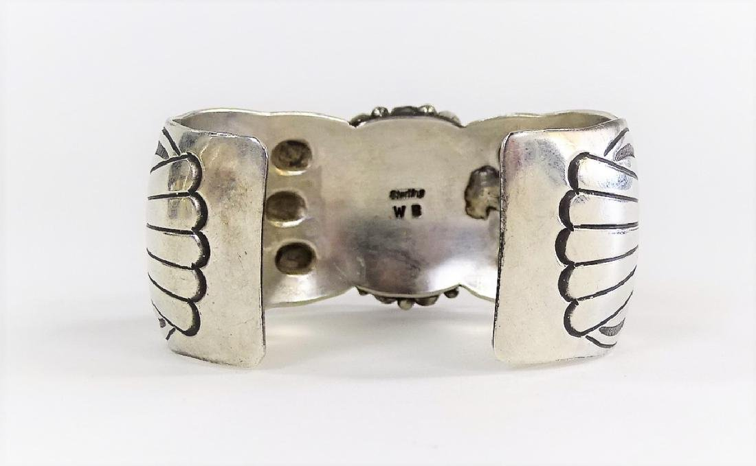 NAVAJO STERLING SILVER TURQUOISE & CORAL CUFF - 2