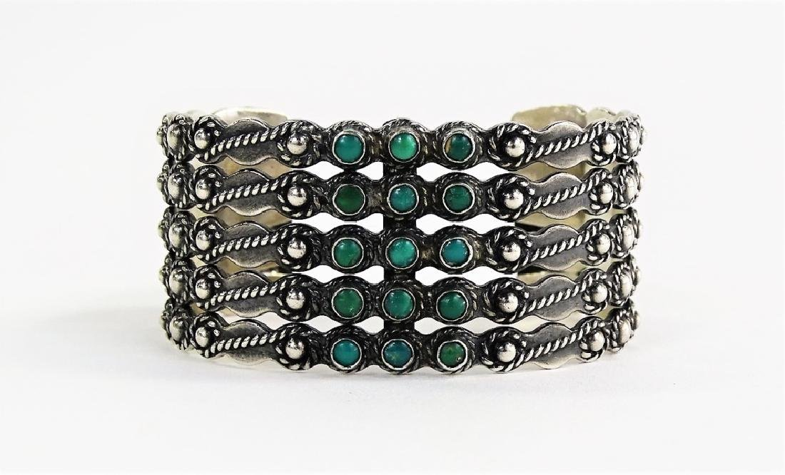 NAVAJO STERLING SILVER TURUOISE BEADED CUFF