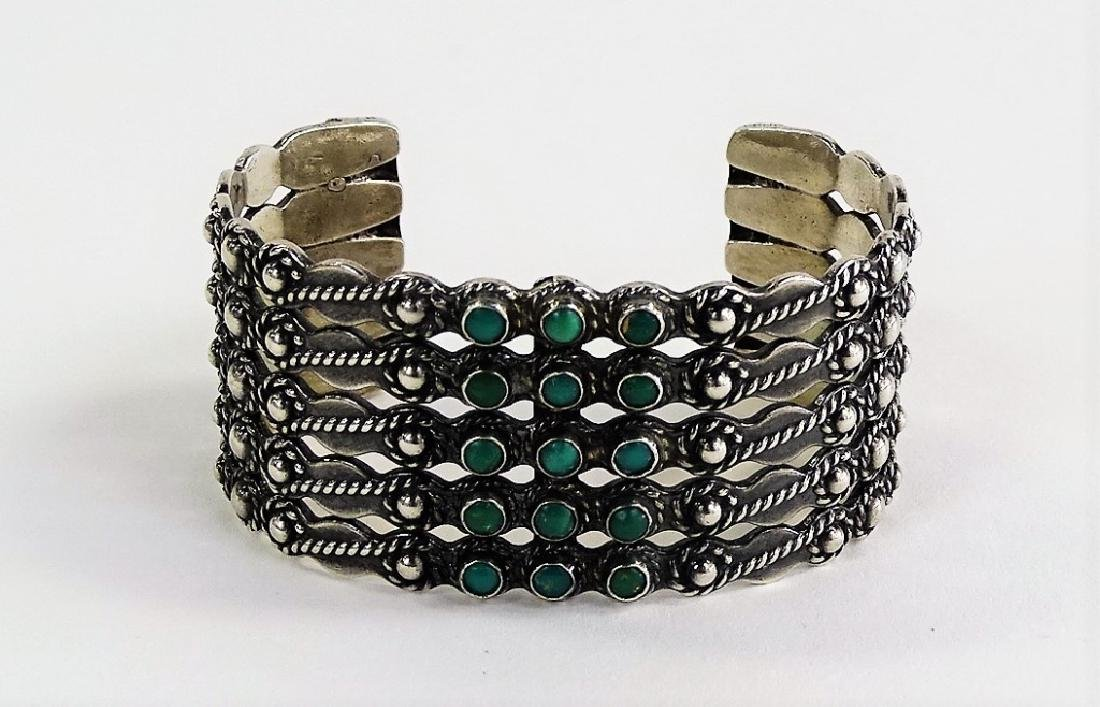 NAVAJO STERLING SILVER TURUOISE BEADED CUFF - 2