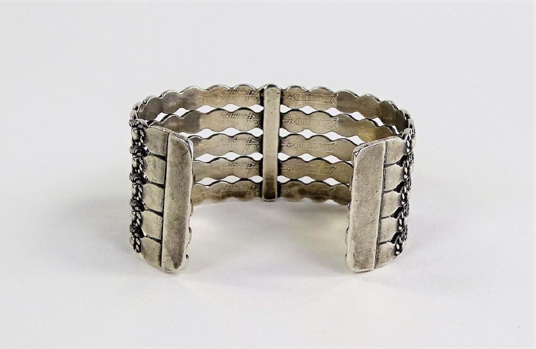 NAVAJO STERLING SILVER TURUOISE BEADED CUFF - 3