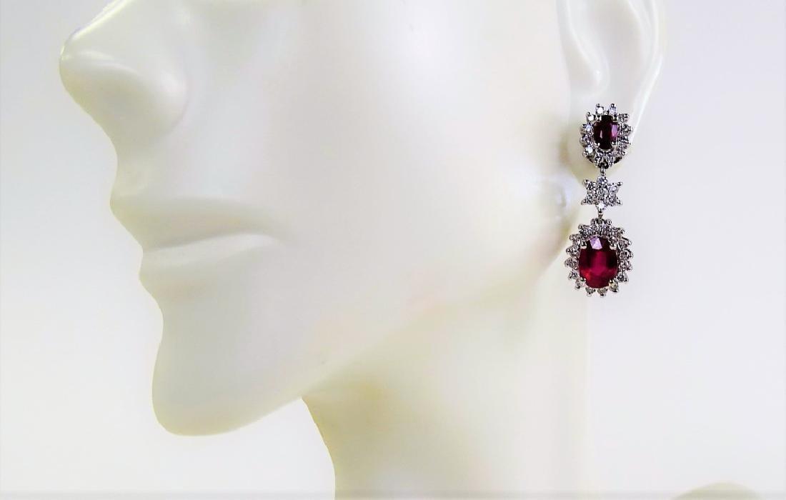 VINTAGE EFFY 14K WHITE GOLD DIAMOND RUBY EARRINGS - 2