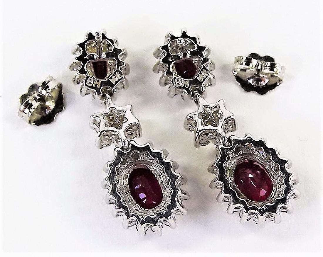 VINTAGE EFFY 14K WHITE GOLD DIAMOND RUBY EARRINGS - 3