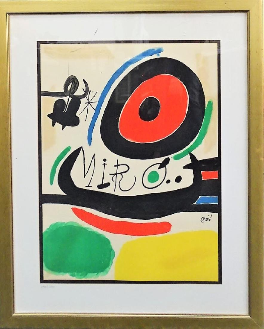 JOAN MIRO FRAMED ABSTRACT LITHOGRAPH ON PAPER