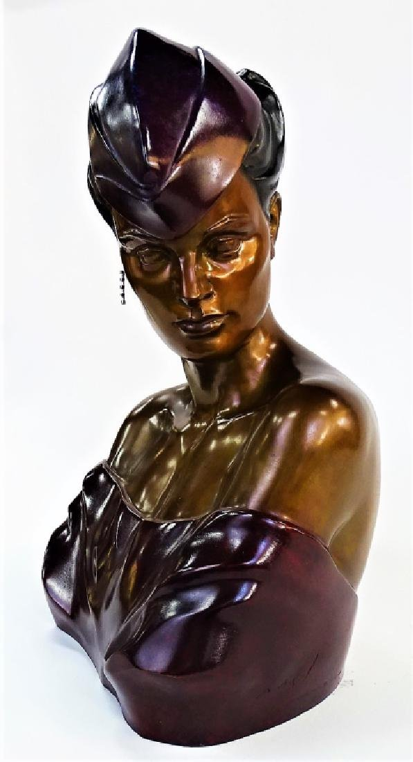 PATRICK NAGEL ART DECO BRONZE BUST SCULPTURE