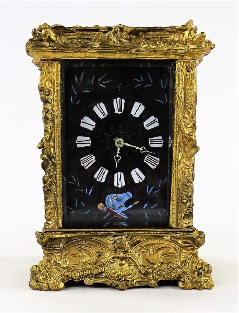ANTIQUE FRENCH HEAVY BRONZE CARRIAGE CLOCK