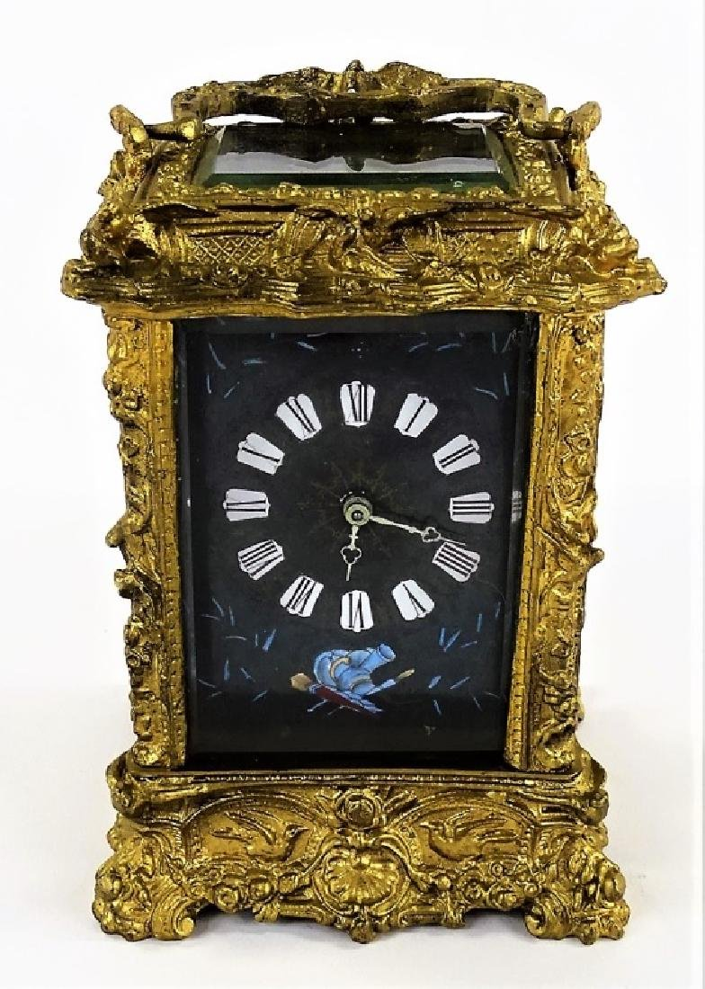 ANTIQUE FRENCH HEAVY BRONZE CARRIAGE CLOCK - 2
