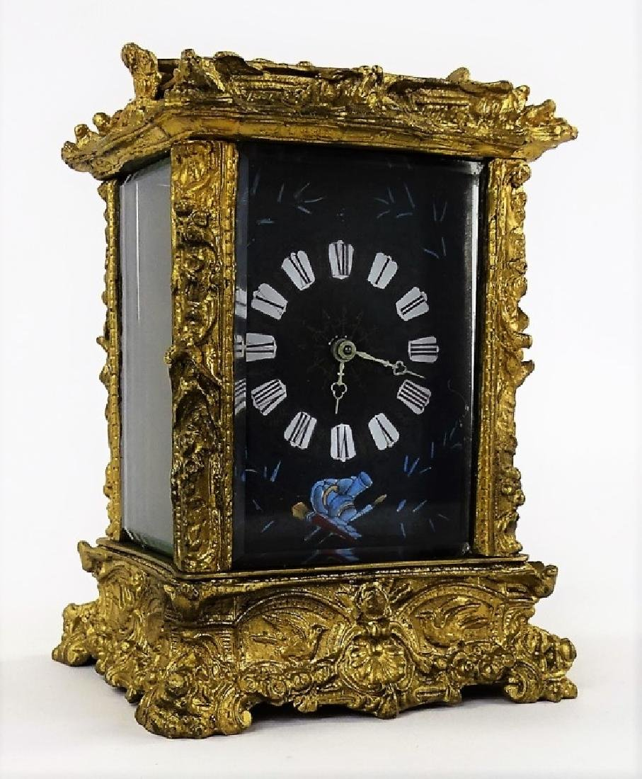 ANTIQUE FRENCH HEAVY BRONZE CARRIAGE CLOCK - 3