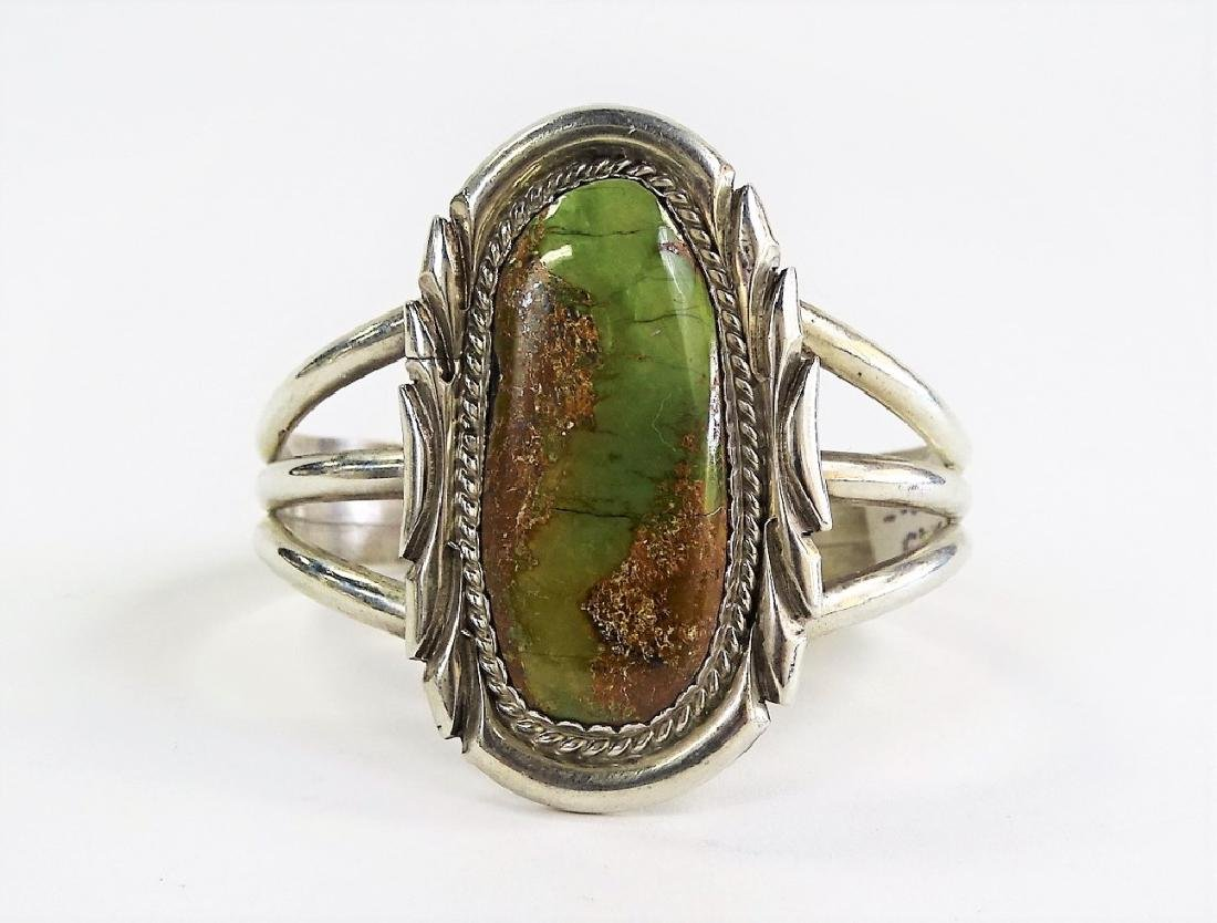 SIGNED KY NAVAJO STERLING TURQUOISE CUFF BRACELET