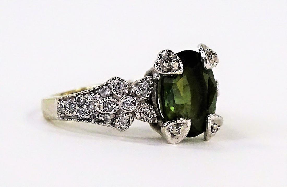 ESTATE 14K WHITE GOLD PERIDOT DIAMOND LADIES RING - 2