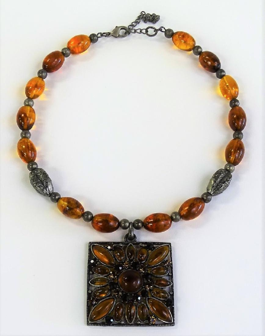 ANTIQUE STERLING SILVER & AMBER NECKLACE