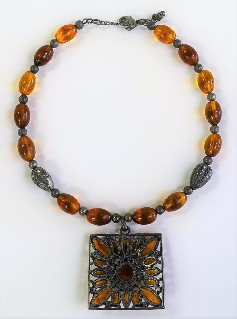ANTIQUE STERLING SILVER & AMBER NECKLACE - 2
