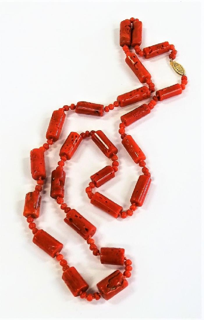 ESTATE 14K YELLOW GOLD & CARVED RED CORAL NECKLACE - 2