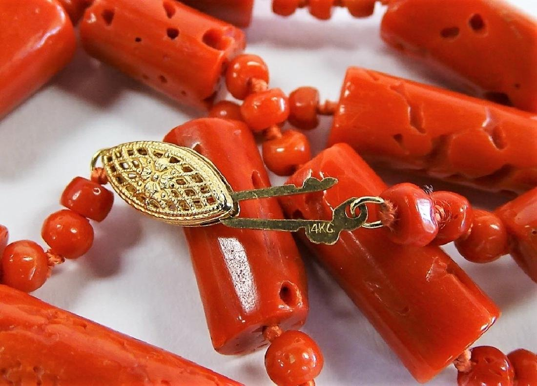 ESTATE 14K YELLOW GOLD & CARVED RED CORAL NECKLACE - 3