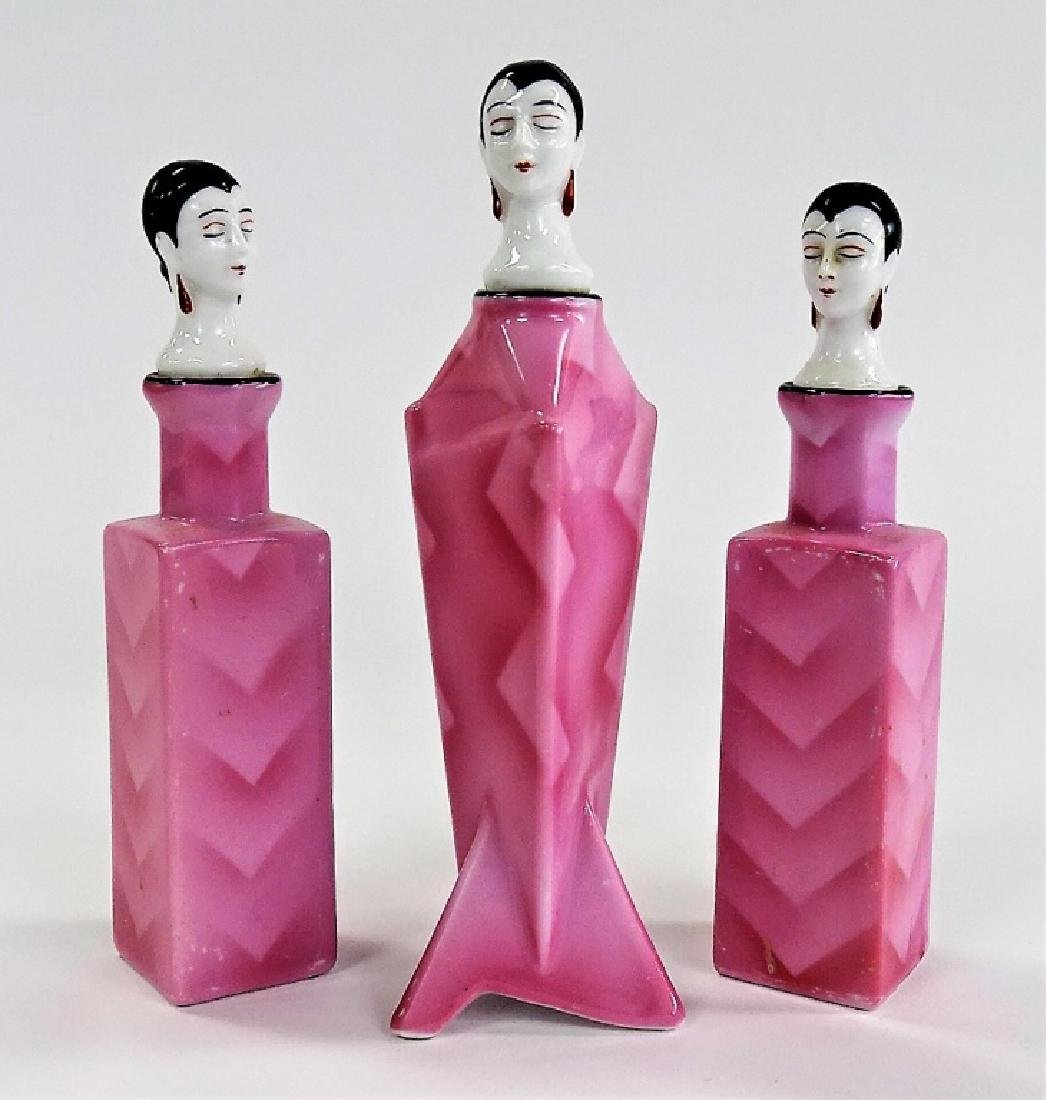 3 ART DECO BAVARIAN FIGURAL PORCELAIN PERFUMES