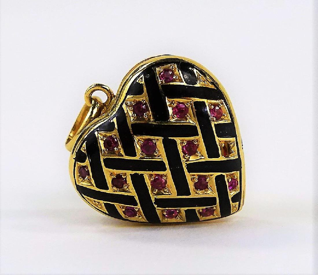 ESTATE 14K GOLD HAND ENAMELED & RUBY HEART LOCKET
