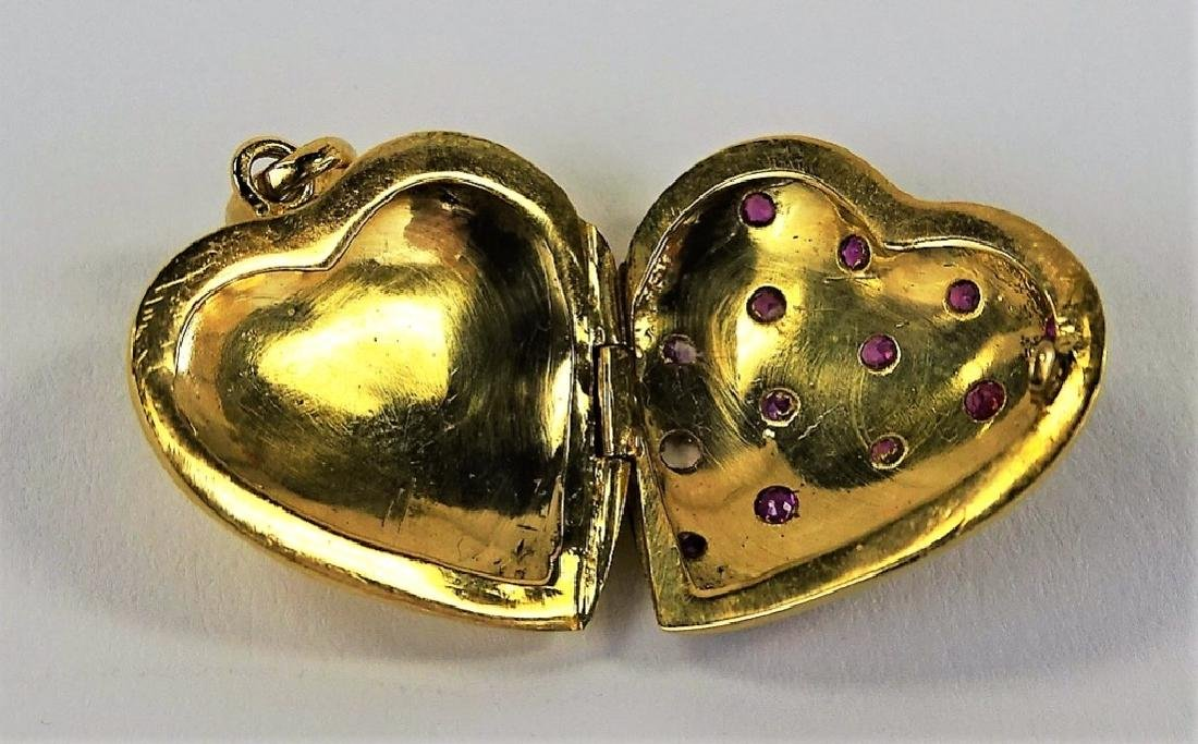 ESTATE 14K GOLD HAND ENAMELED & RUBY HEART LOCKET - 2