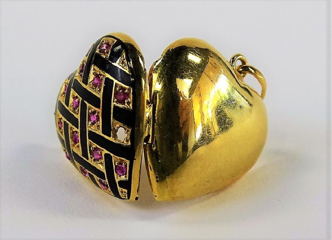 ESTATE 14K GOLD HAND ENAMELED & RUBY HEART LOCKET - 3
